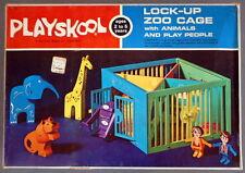 Vintage 1971 Playskool LOCK-UP ZOO CAGE w/Animals & Play People - No. 394 SEALED