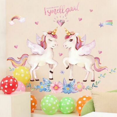 Cartoon Unicorn Star Heart Wall Stickers Removable Kids Favor Ornament