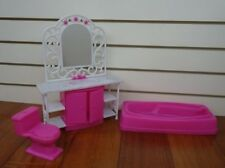 Play Set Barbie Doll Size Bathroom Furniture Include Accessories Durable Plastic