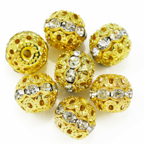 20x Rhinestone Diamante Gold Plated Rondelle Spacers  Beads 6mm 8mm 10mm