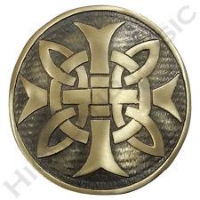 "New H M Men's Cross Round Kilt Belt Buckle Antique Finish 3""/Celtic Belt Buckles"