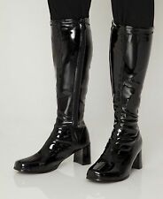 Knee High GoGo Boots - Disco 70s Style Black Boots - Size 8 UK - Black Patent