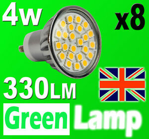 8 x GU10 24 SMD 5050 LED Bulb = 60W HALOGEN with cover glass 3000K Warm White