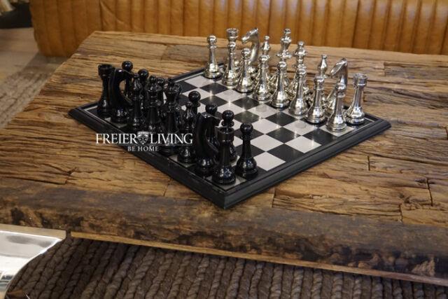 Schachspiel Aluminium Holz Schachfiguren Schachbrett Chrom Büro Dekoration Luxus