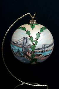 3-Brooklyn-Bridges-CHRISTMAS-HOLIDAY-ORNAMENT-Large-Hand-Made-Original-Design
