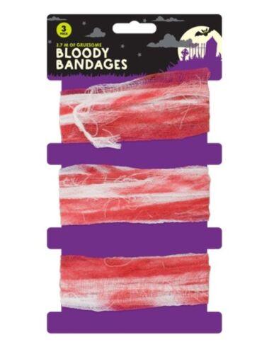 8M lunga Sanguinoso Macchiato sangue Garza Benda Halloween Fancy Dress Zombie Spaventoso UK