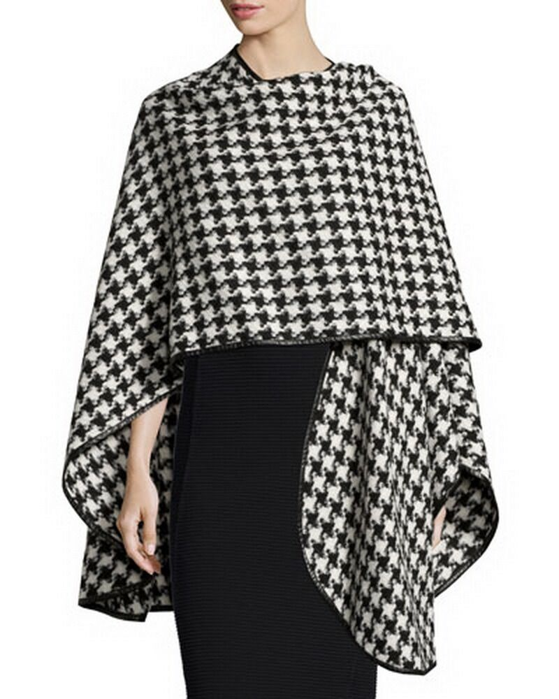 Open front Loosely houndstooth faux leather trim Cape plus 1x-10x (16-52)G191
