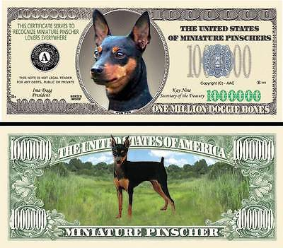 Doberman Dog Million Doggie Bones Dollar Funny Money Novelty Note FREE SLEEVE