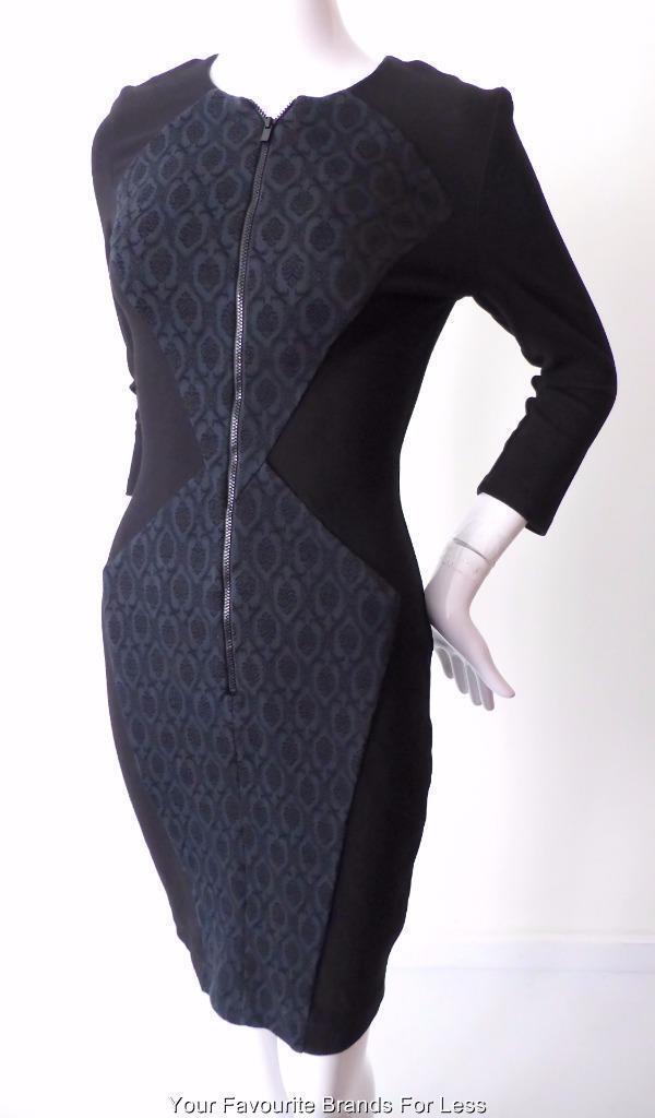 CUE - NEAR NEW - Größe 8 US 4 Made in Australia Sheath Dress  Zip Front Stretch