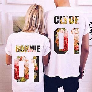 Short Sleeve Couple T-Shirt Bonnie   Clyde Love Matching Shirts ... 3e6b82f90092