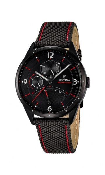 Festina Herrenuhr Uhr Multifunktion Tag Datum Schwarz Rot Textil Leder F16849/2