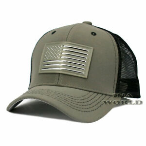 USA-American-Flag-hat-Pique-Snapback-hat-Tactical-Mesh-Baseball-cap-Gray-Silver