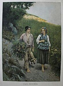Schaf-Schafe-Bauernkinder-034-Auf-dem-Heimweg-034-Stich-nach-V-Caprile-um-1895