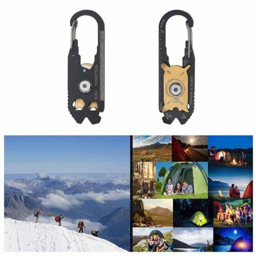 20 In 1 Multifunctional Carabiner Key Chain Hook Utility Ring Camping Qu