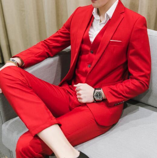 3pcs Mens Business Formal Dress Suits One Button Lapel Jacket Vest Trousers D799