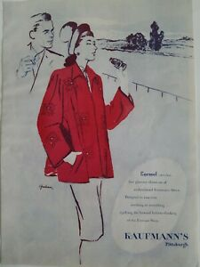 1946-Kaufmann-039-s-Pittsburgh-Tienda-Mujer-Carmen-Original-Abrigo-Moda-Anuncio