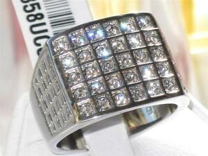 TK358PB-30STONE-MENS-SIGNET-SQUARE-RING-STAINLESS-STEEL-SIMULATED-DIAMOND