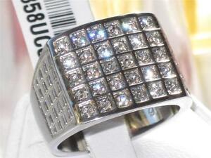 TK358PB-30STONE-MENS-SIGNET-SQUARE-RING-STAINLESS-STEEL-SIMULATED-DIAMOND