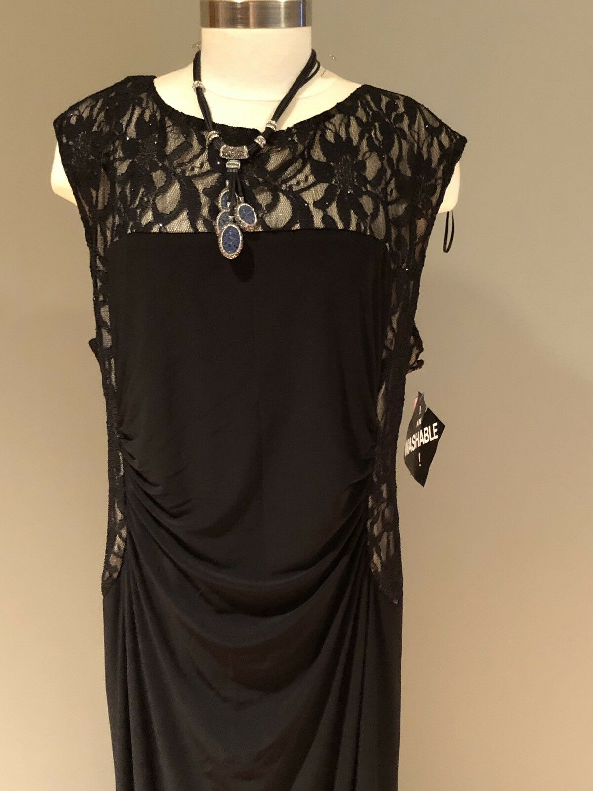R&M Richards Woman Plus Size 22W Stretchable Black & Tan w/Lace Panels Long Gown