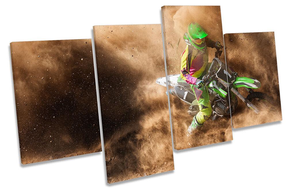 Motocross Dirt Bike Print MULTI CANVAS WALL ART Picture braun