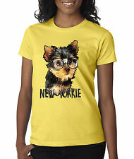New Way 381 - Women's T-Shirt New York Yorkie Puppy Dog Glasses Funny Humor
