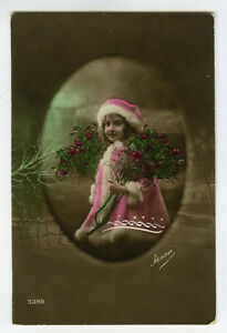 c 1918 Cute Children Child PRETTY LITTLE GIRL tinted photo postcard