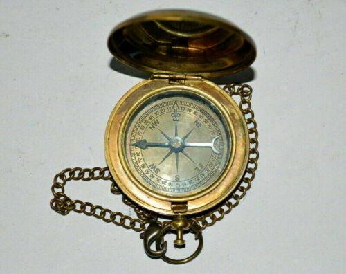 "Details about  /Antique nautical dollond london marine brass 2/"" push button locket compass"