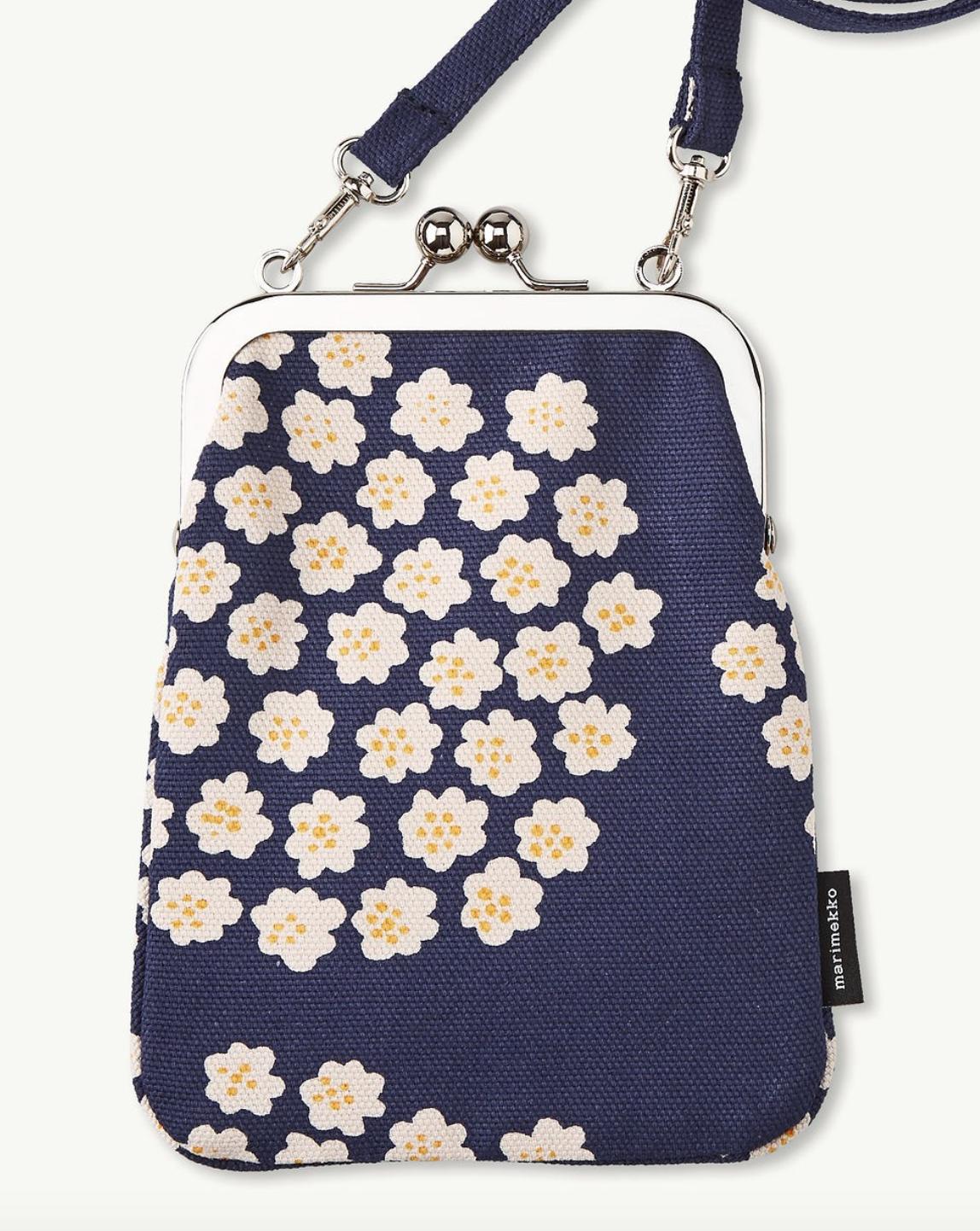 Marimekko Rimmi bourse sac, de la Finlande Neuf avec étiquettes, bleu puketti