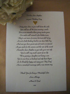 Image Is Loading Personalised Wedding Poem Scroll To Our Son On
