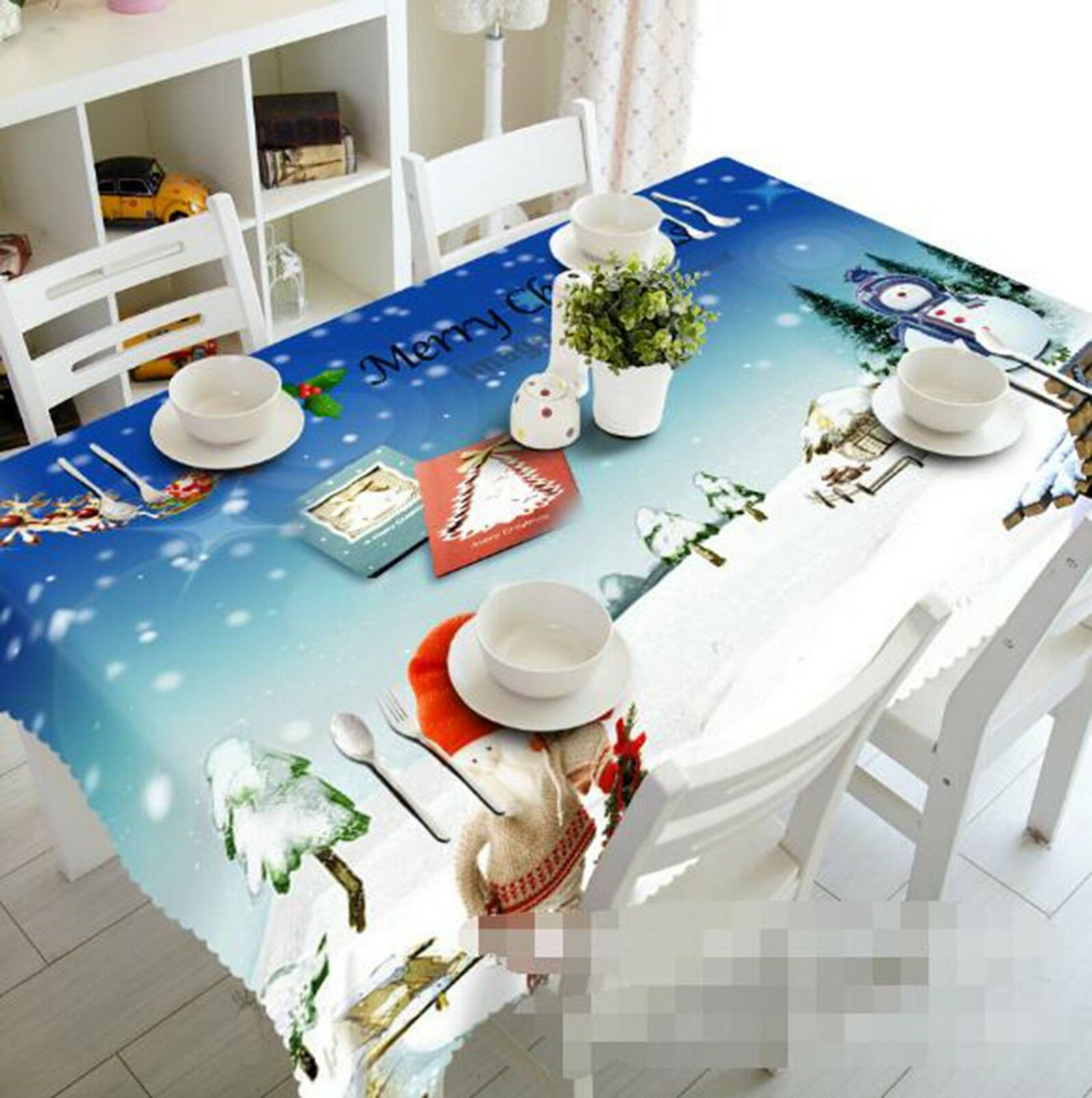 3D Snowman Road 22 Tablecloth Table Cover Cloth Birthday Party Event AJ Lemon