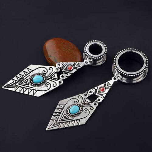Pair Rhombus Dangle Stainless Steel Ear Tunnels Turquoise Screw Gauges Earrings