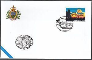 Uni 1996 San Marino Busta Ufficio Poste Fdc Festivalbar First Day Cover Ferme En Structure