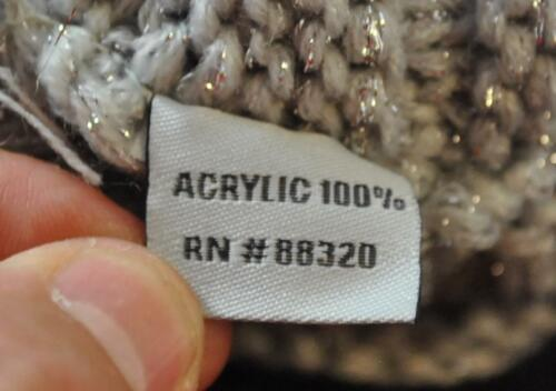 C.C Exclusives Knit Metallic Grey Horizontal Ribbed Hat Cap Brim Beanie Visor G1