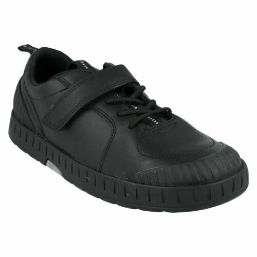Boys Clarks Smart Hook /& Loop Leather /& Material School Shoes Apollo Step