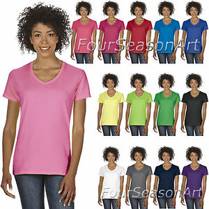 23fdfae783 Gildan Ladies Heavy Cotton V Neck T Shirt Womens Cotton Tee S-3XL ...