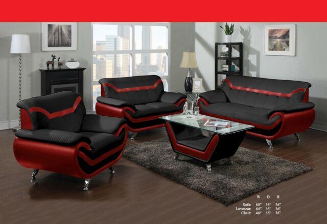Mid-Century Modern Plush Leather Match Living Room Sofa (Black ...