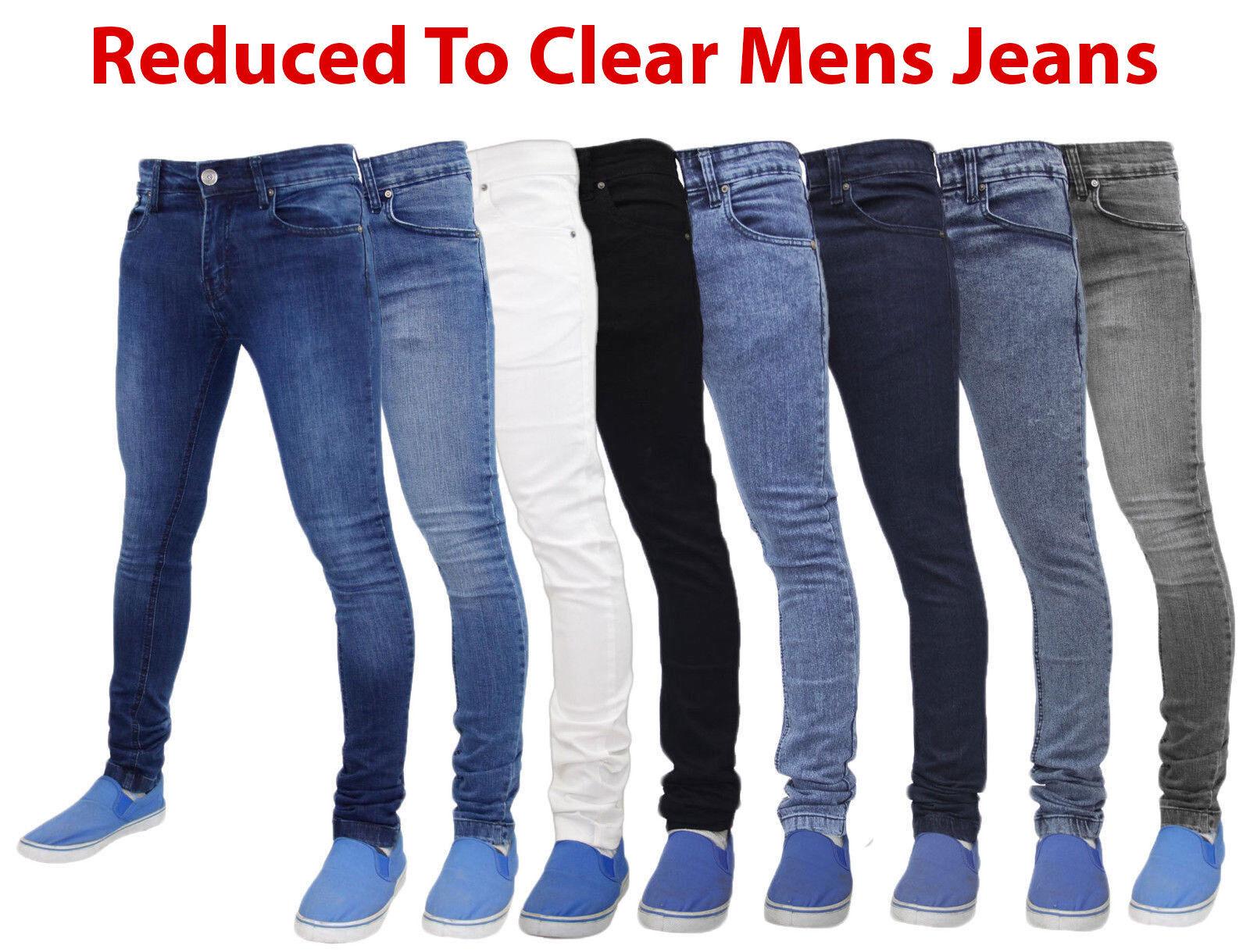 Pantaloni da Uomo di Jeans Skinny Stretch Slim Fit Denim Pantaloni Cotone ORIGINALE FLEX