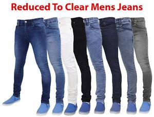 Hommes-Slim-Fit-Jeans-Super-Skinny-Stretch-Vrai-Visage-Denim-Coton-Pantalon-28-38