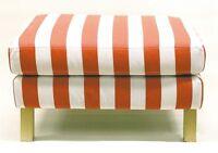 Ikea Karlstad Footstool Slipcover Rannebo Red White Stripe Ottoman Cover Nip
