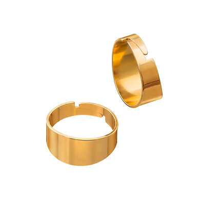 G96//4 Adjustable 18mm Ring Bases Gold Plated Flat 5mm Wide Pack of 2