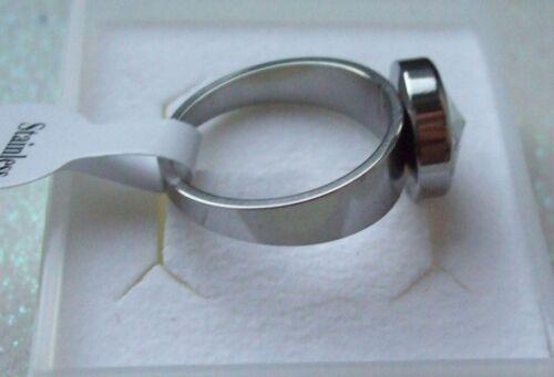 Schmuck Gr 20 Edelstahl Ring mit Zirkonia Stein Damenring