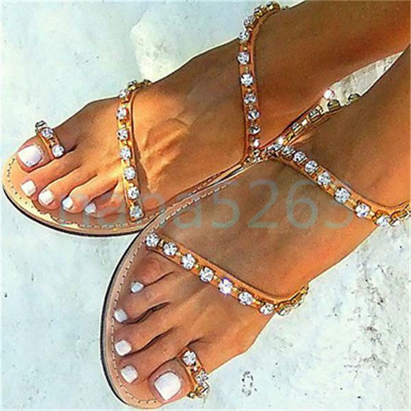 Damen Flach Sand Strand Sandale Flip Flops Schuhe Rhienstone Slippers J9