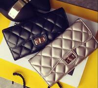 2016 Womens Quilted PU Leather Wallet photo Card black gold Clutch Purse