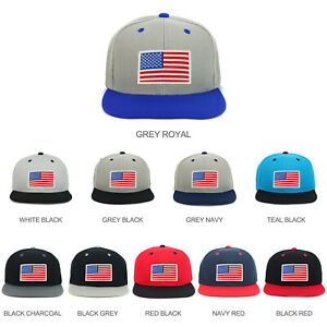 cc32f77fd Details about Youth Kid's White American Flag Patch Flat Bill Snapback  2-Tone Cap - FREESHIP