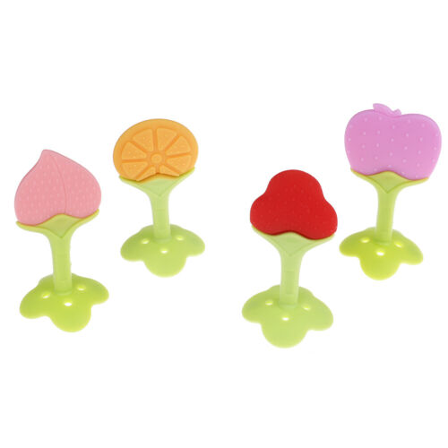1Pc Baby kids food grade silicone fruit soft teeth stick teether chew toys giftM