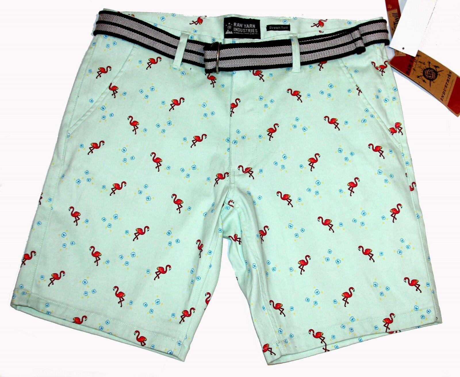 Raw Yarn Deep Pink Flamingos Hibiscus Mint Green Mens Shorts w Belt MSRP  NWT