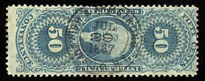 B702 U.S. Revenue Scott #R54c 50c Conveyance, 1867 insurance agent handstamp