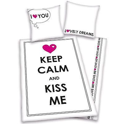 Copripiumino Keep Calm.Keep Calm And Kiss Me I Love You Set Copripiumino Nuovo 100