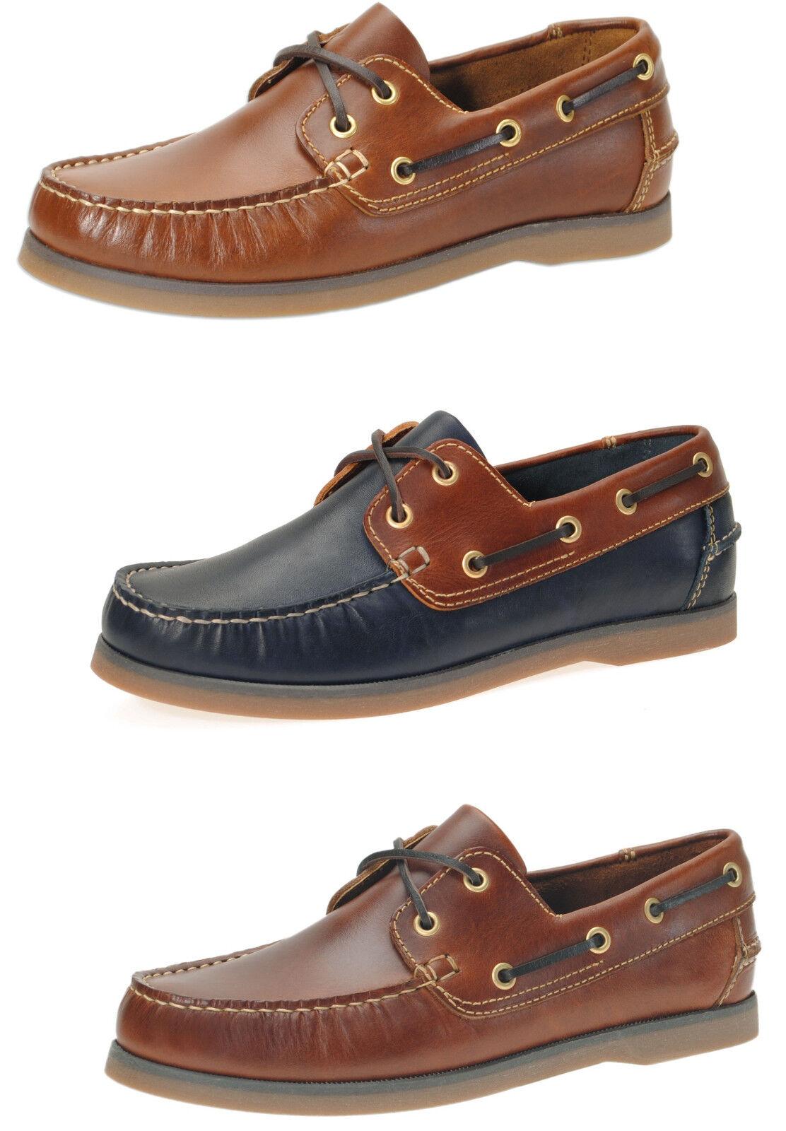 Jim Boomba en Cuir Premium Chaussures Bateau, Deck chaussures-Acajou-CEDAR marron-bleu marine