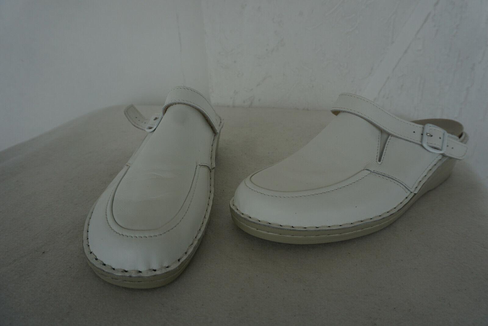 ORTOPEDICA Natural Feet Sandali Da Donna Scarpe Zoccoli TG 41 pelle BIANCA pratica